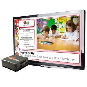 Digital signage for primary schools with a player in front