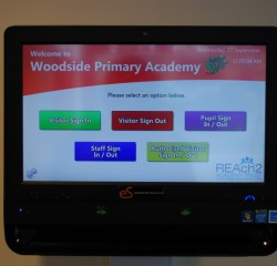 Woodside primary acadamy entry sign in screen