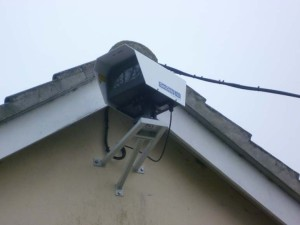 Outdoor CCTV camera installed near the roof