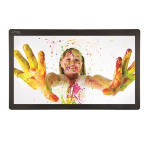 kid covered in paint on tablet screen