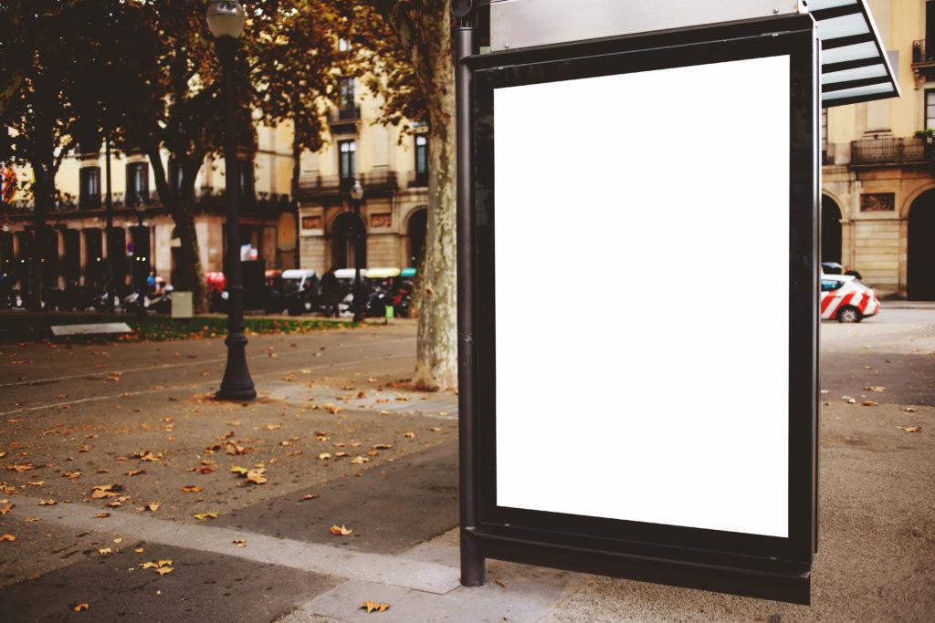 Blank digital signage on the street