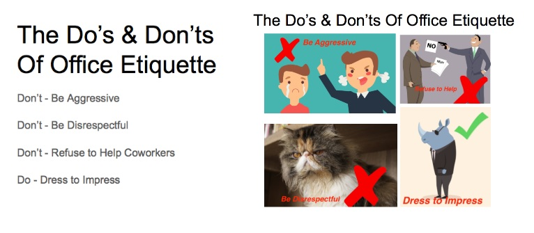 An infographic of the Do's and Don'ts of office etiquette