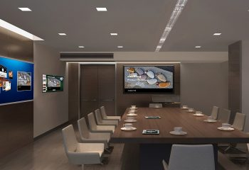 Brand new office with screens and long meeting table