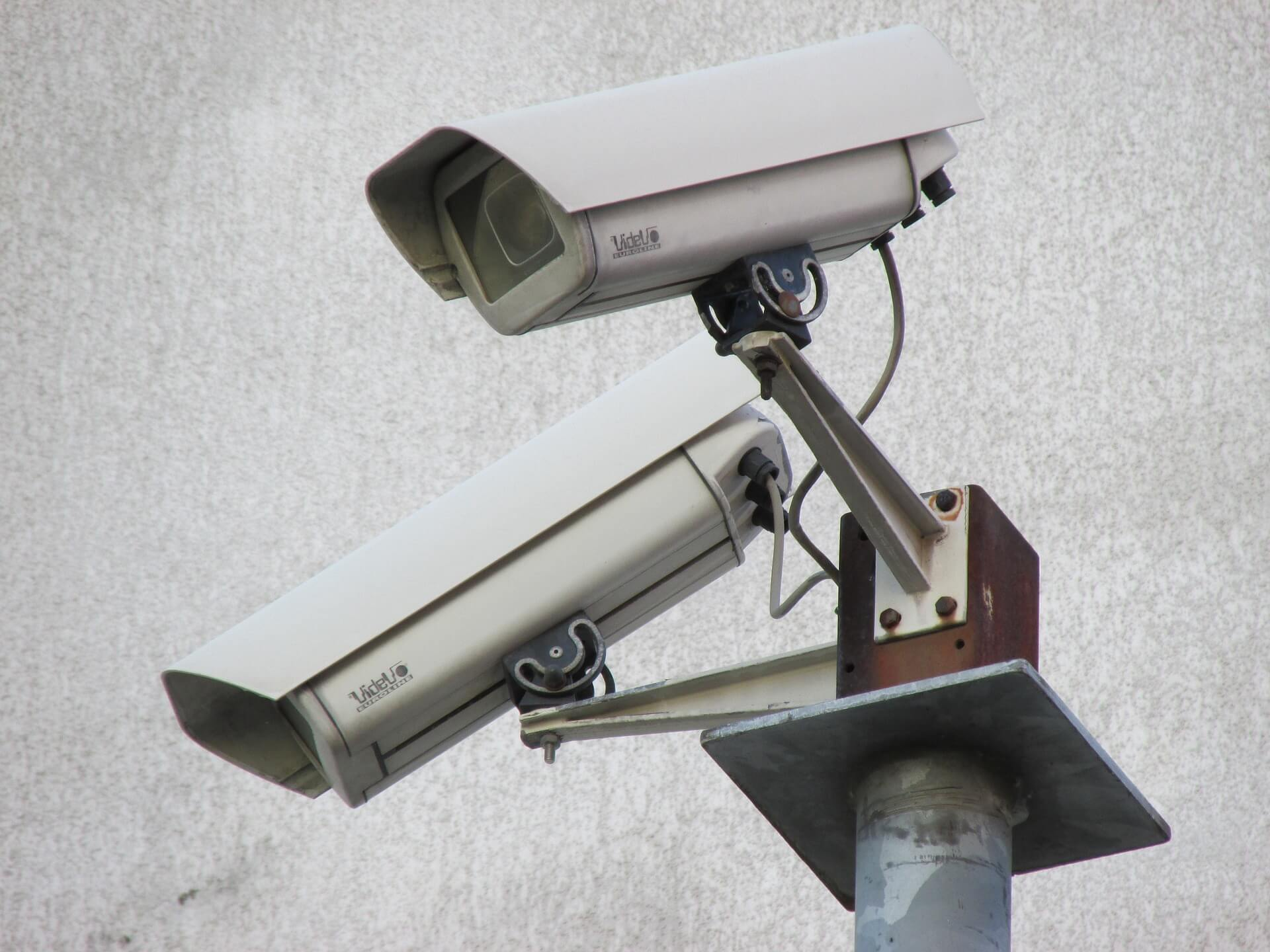 Security cameras pointing below